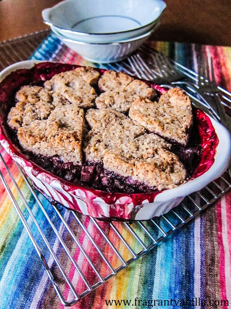 Vegan Blueberry Rhubarb Cobbler with Pecan Biscuits