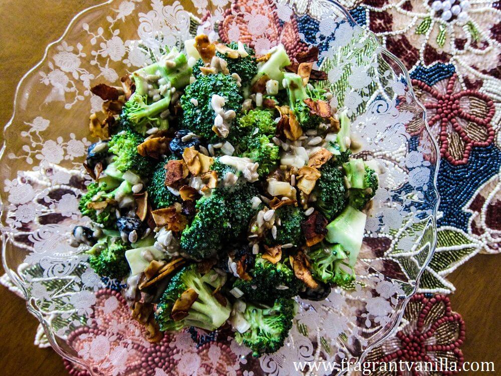 """Vegan Broccoli """"Bacon"""" Salad"""