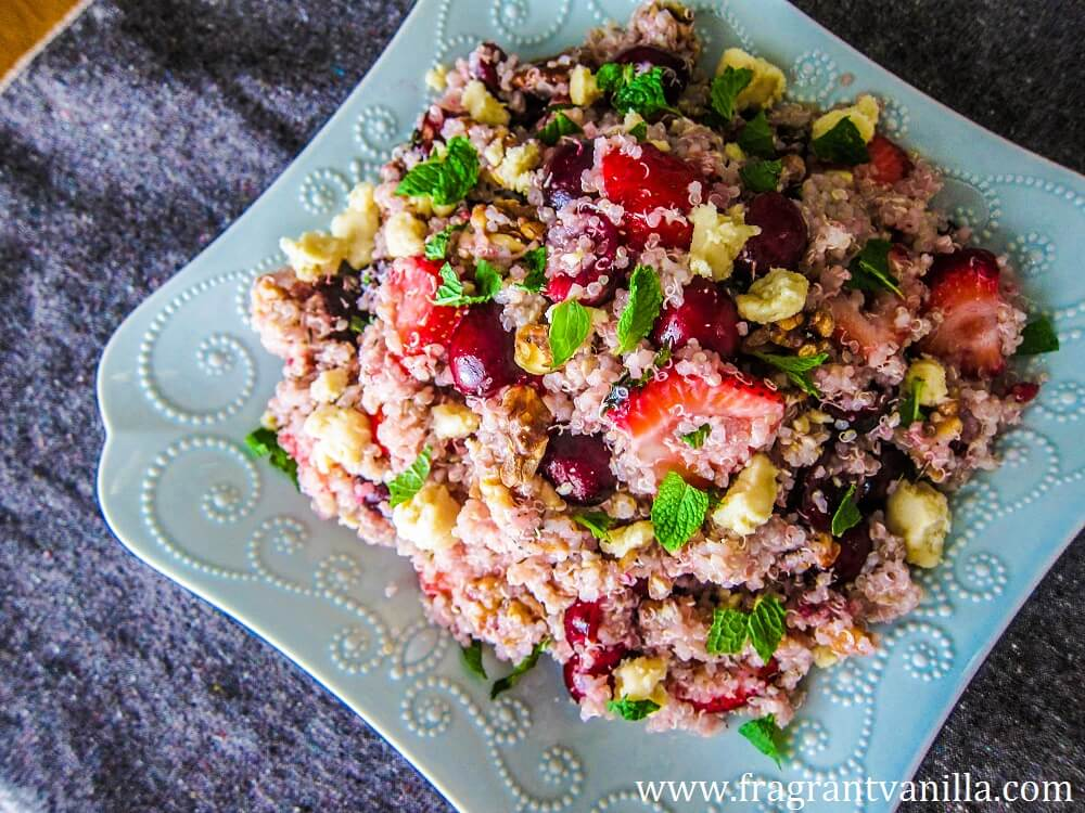 "Cherry Berry Quinoa Salad with ""Chevre"""