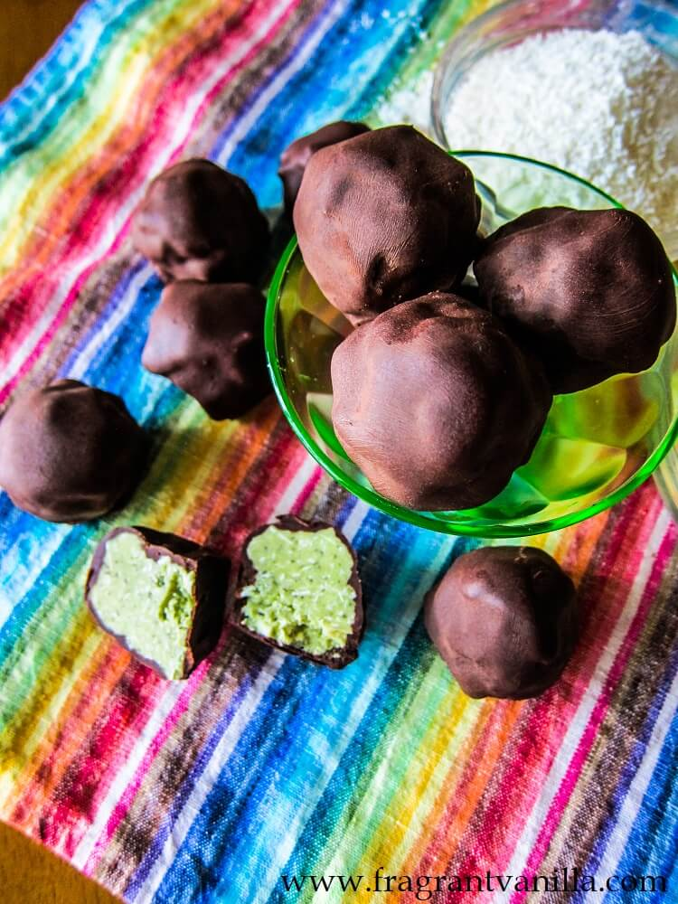 Vegan Coconut Mint and Lime Chocolates
