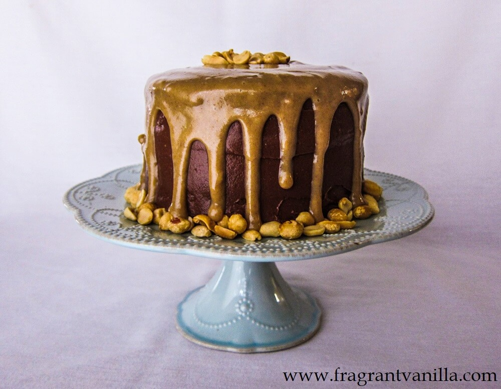 Vegan Dark Chocolate Cake with Peanut Butter Caramel