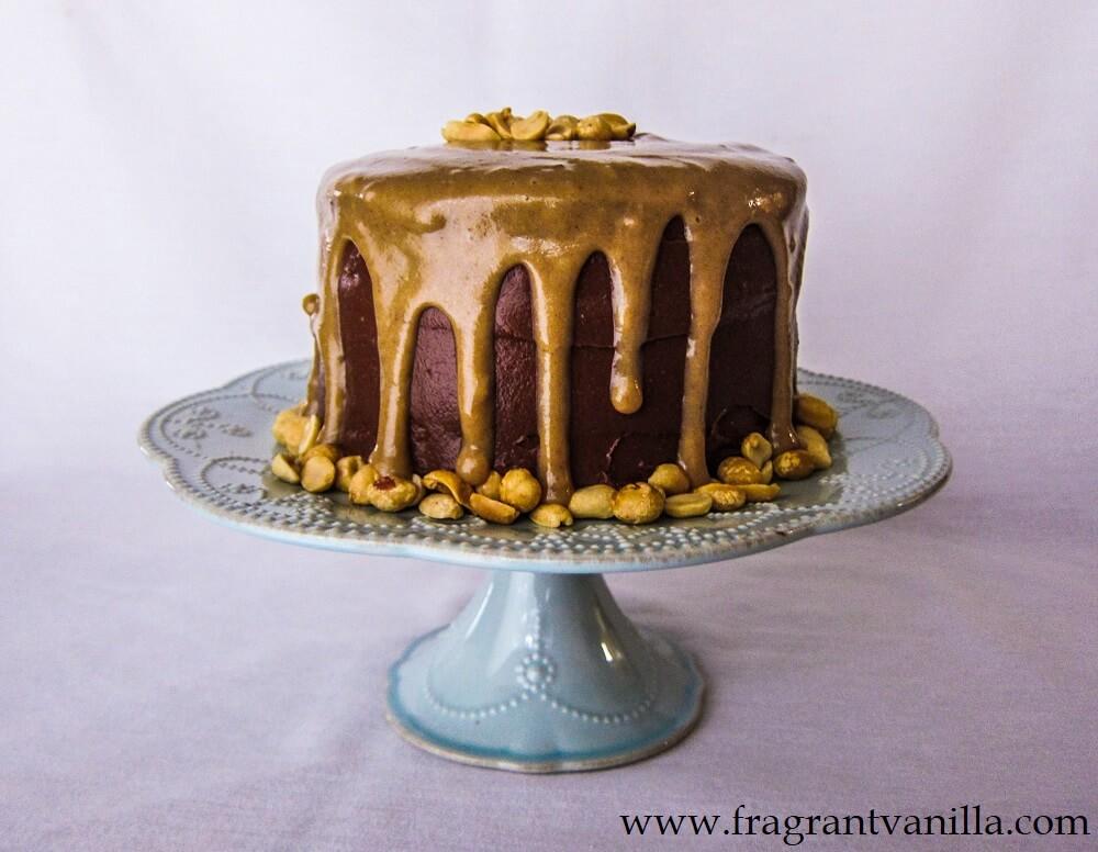 Vegan Dark Chocolate Cake with Peanut Butter Caramel