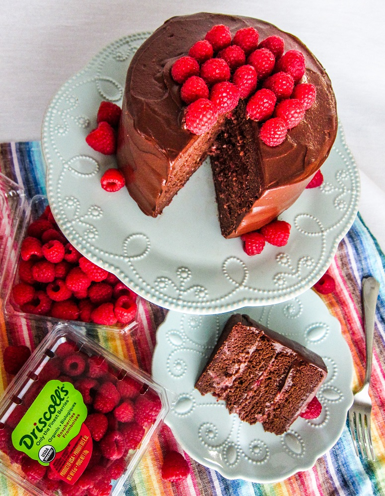 Vegan Dark Chocolate Raspberry Layer Cake featuring Driscoll's Berries