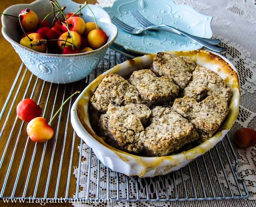 Vegan Rainier Cherry Cobbler with Hazelnut Biscuits