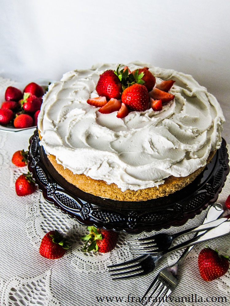 Vegan Strawberry Shortcake Poke Cake