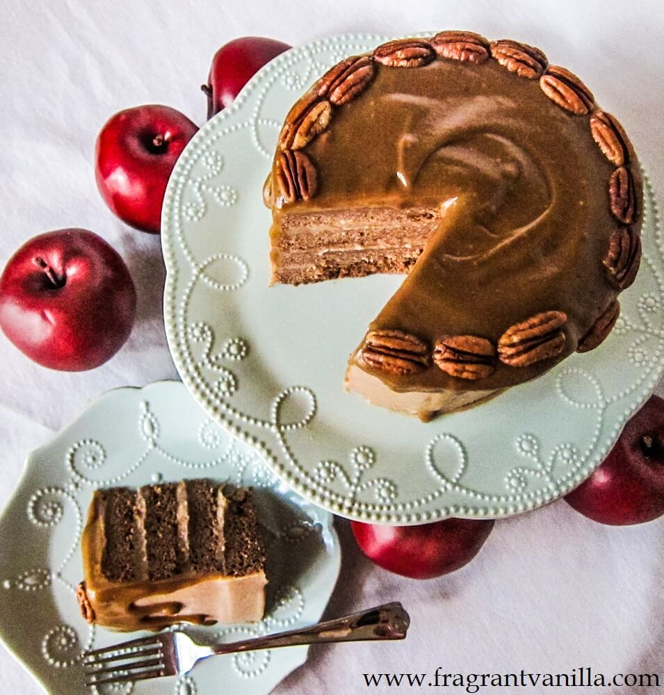 Vegan Apple Spice Cake with Caramel Frosting