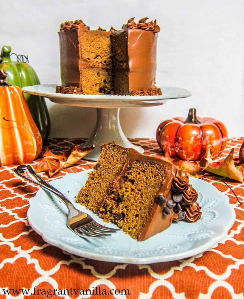 Vegan Pumpkin Spice Chocolate Chip Cake with Fudge Frosting