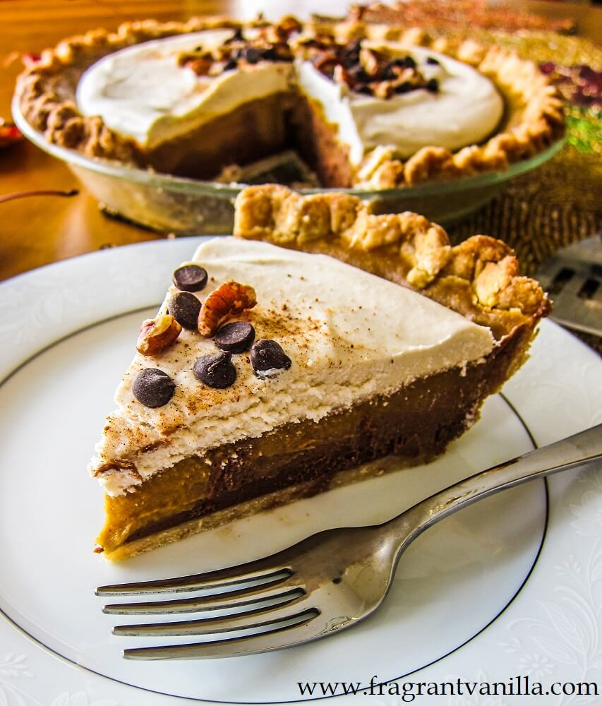Vegan Triple Layer Chocolate Pumpkin Pie
