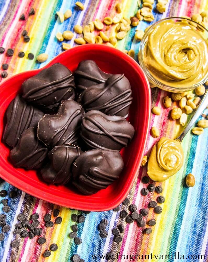 Vegan Peanut Butter Chocolate Hearts