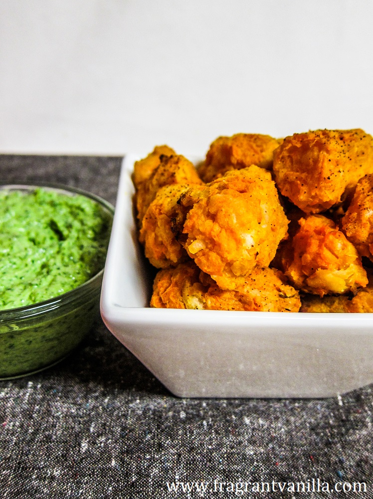 Vegan Spicy Sweet Potato Tots with Cilantro Avocado Dipping Sauce