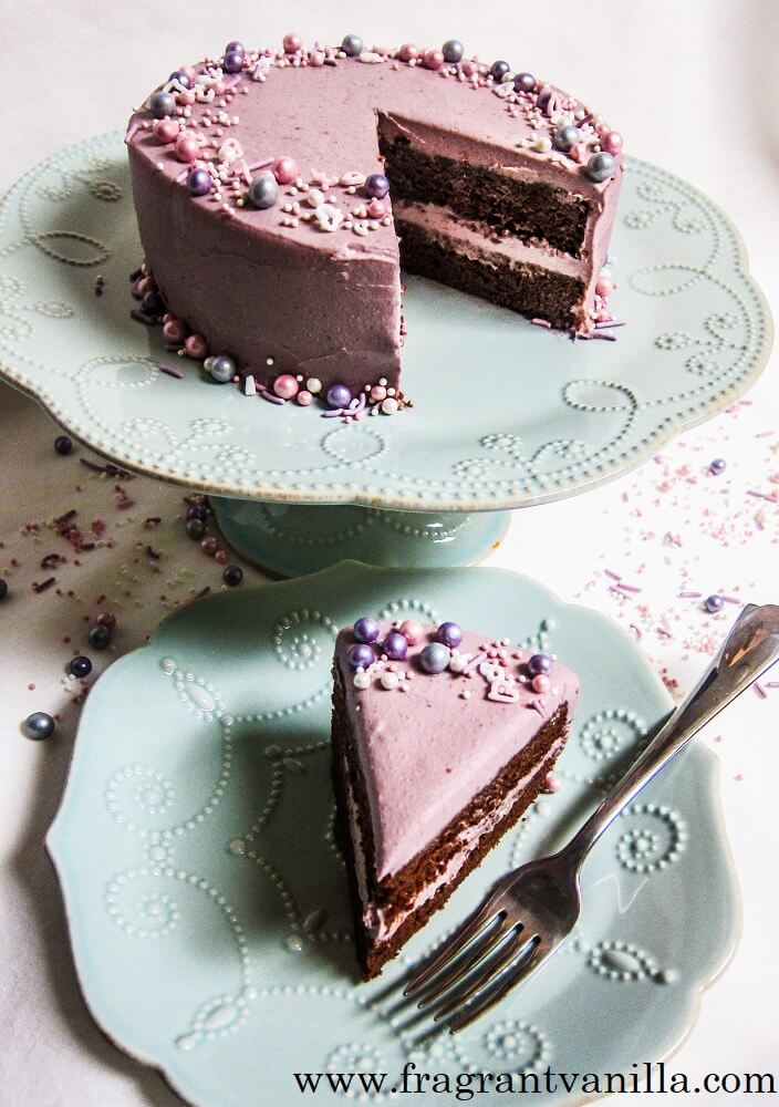 Vegan Chocolate Cake with Raspberry Frosting