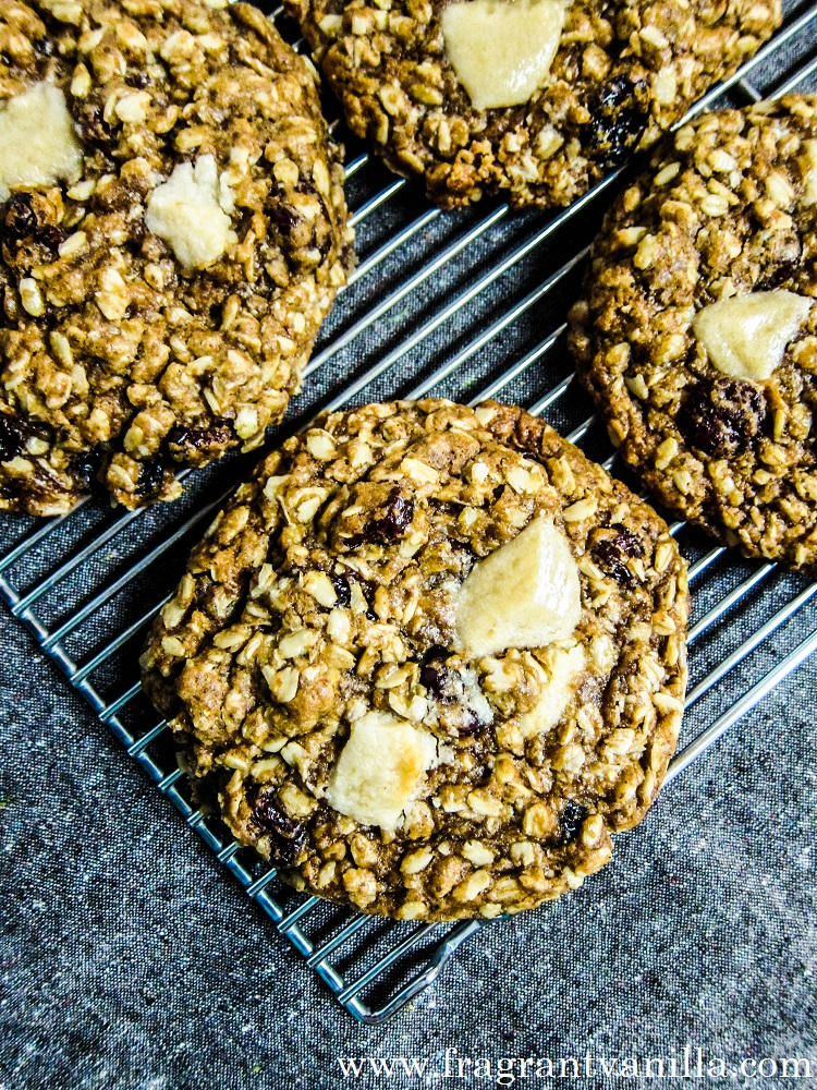 Vegan Cranberry White Chocolate Chip Oatmeal Cookies