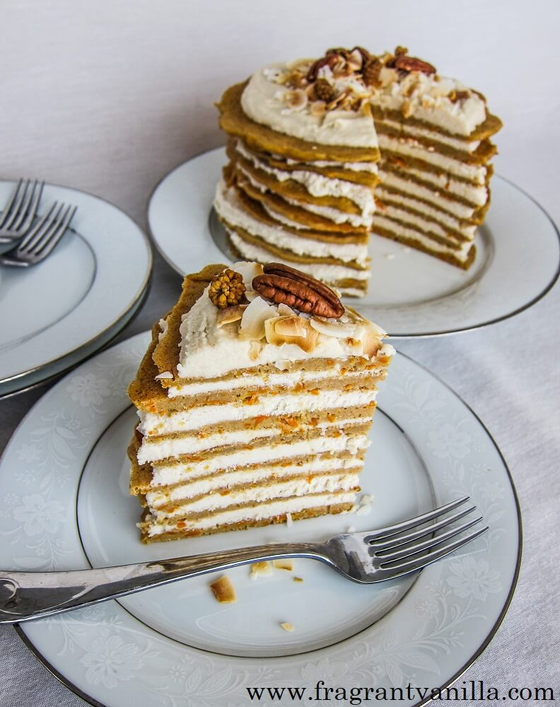 Vegan Carrot Crepe Cake
