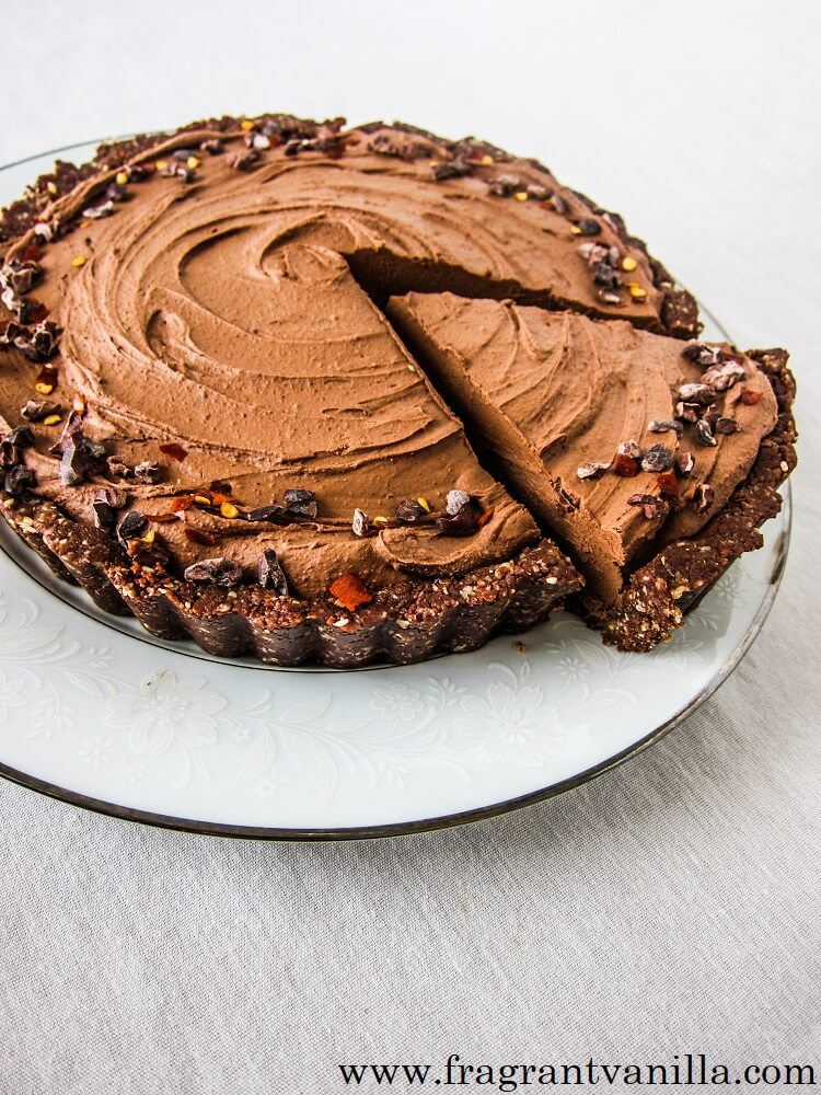 Vegan Chocolate Chili Mousse Tart