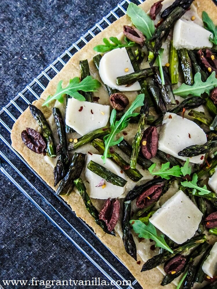 Vegan Roasted Asparagus Garlic Flat Bread