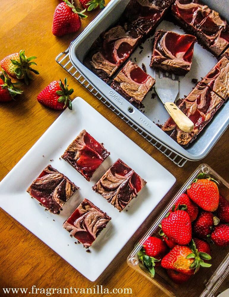 Vegan Strawberries and Cream Brownies