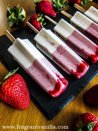 Vegan Strawberry Lemon Cheesecake Popsicles