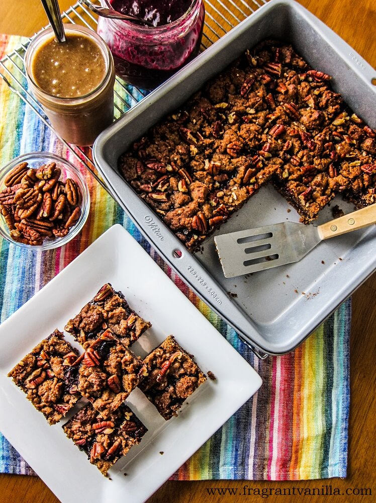 Vegan Pecan Blueberry Jam Bars