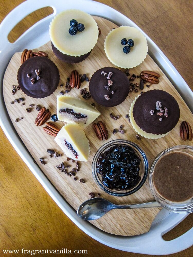 Vegan Chocolate Blueberry Pecan Butter Cups