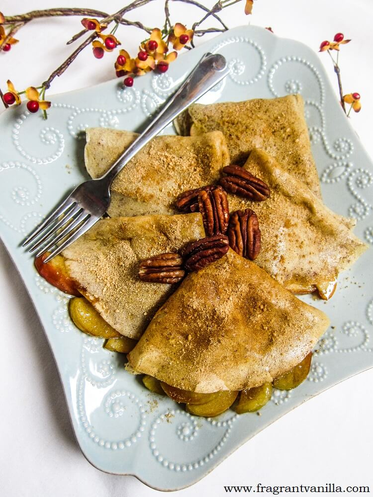 Vegan Snickerdoodle Crepes with Caramelized Apples