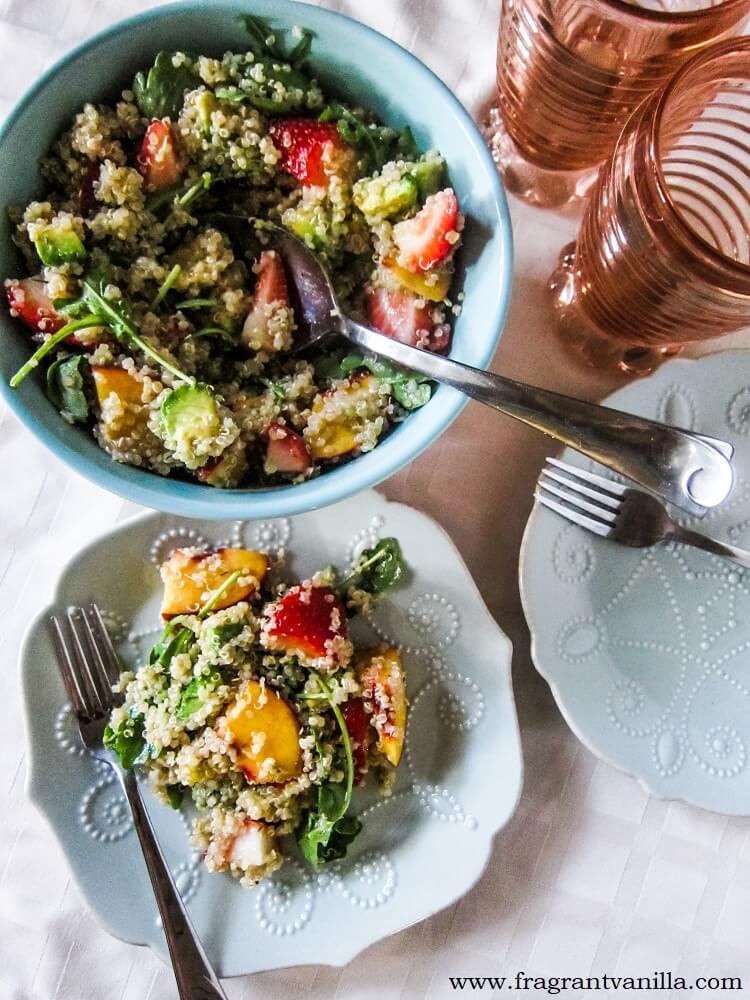 Strawberry Peach Avocado Quinoa Salad