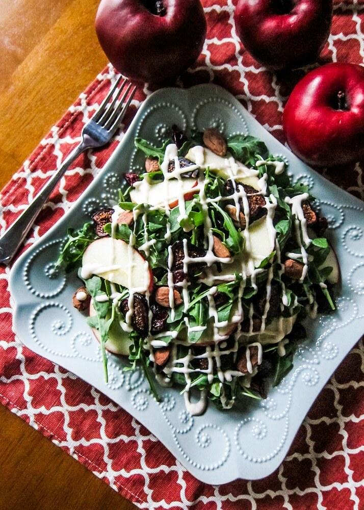 Autumn Apple Fig Salad with Lemon Maple Tahini Dressing