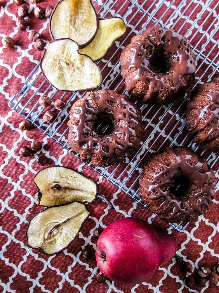 Vegan Chai Spiced Pear Cakes with Hazelnut Chocolate Glaze
