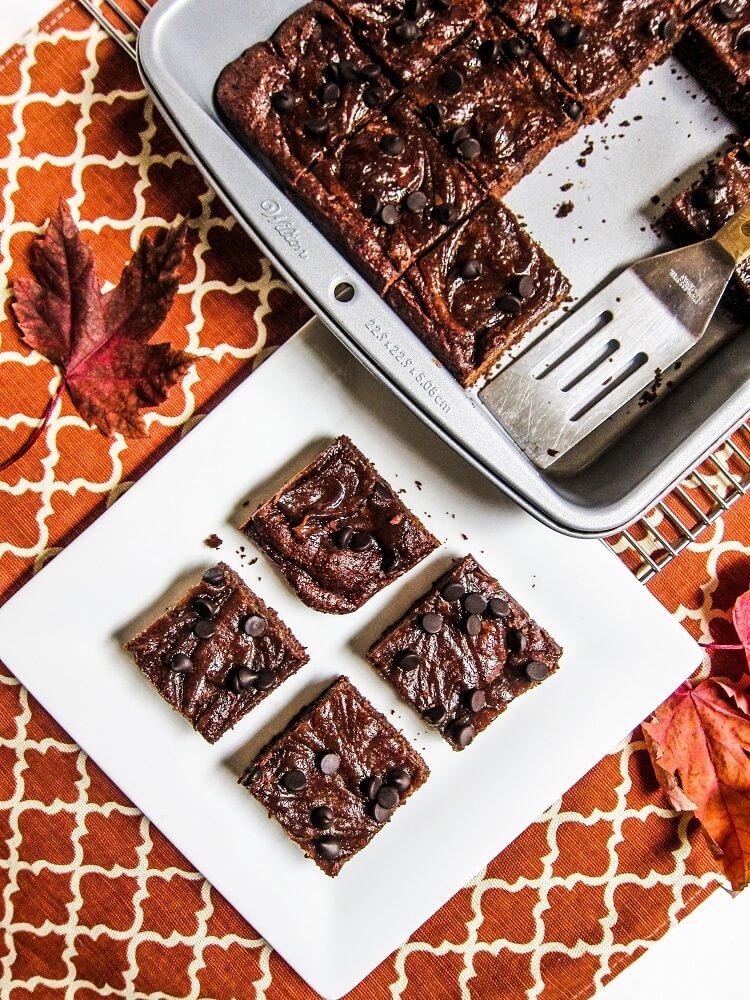 Vegan Tahini Salted Caramel Brownies
