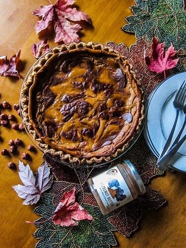 Vegan Chocolate Hazelnut Swirled Pumpkin Pie | Fragrant