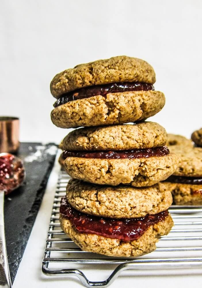 Vegan Peanut Butter and Jelly Sandwich Cookies