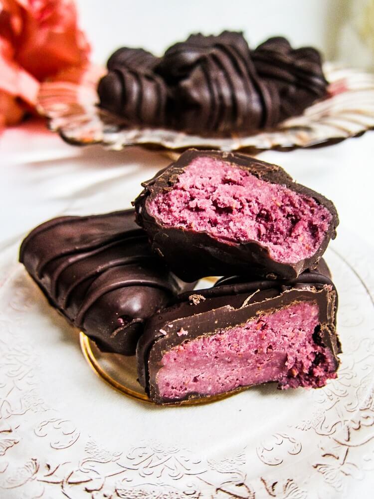 Vegan Raspberry White Chocolate Truffle Hearts