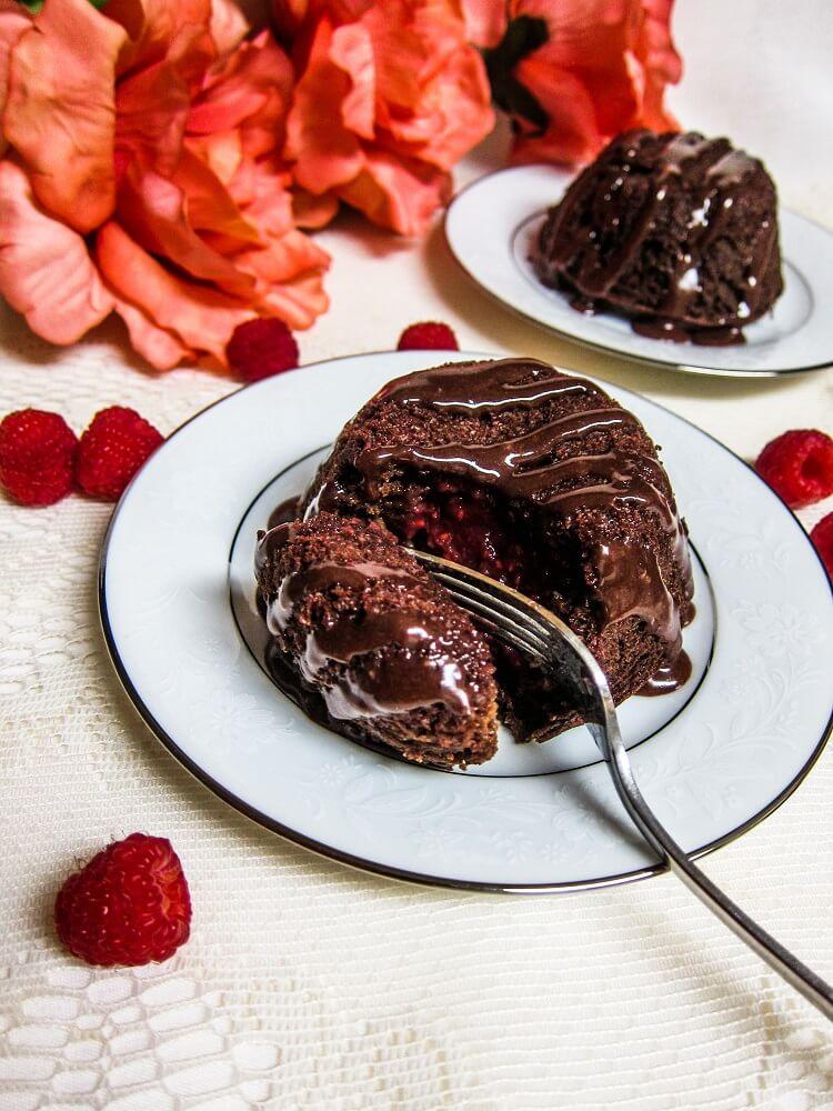 Vegan Chocolate Raspberry Lava Cakes