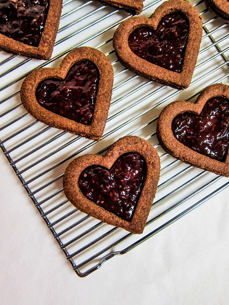 Vegan Dark Chocolate Raspberry Shortbread Cookies