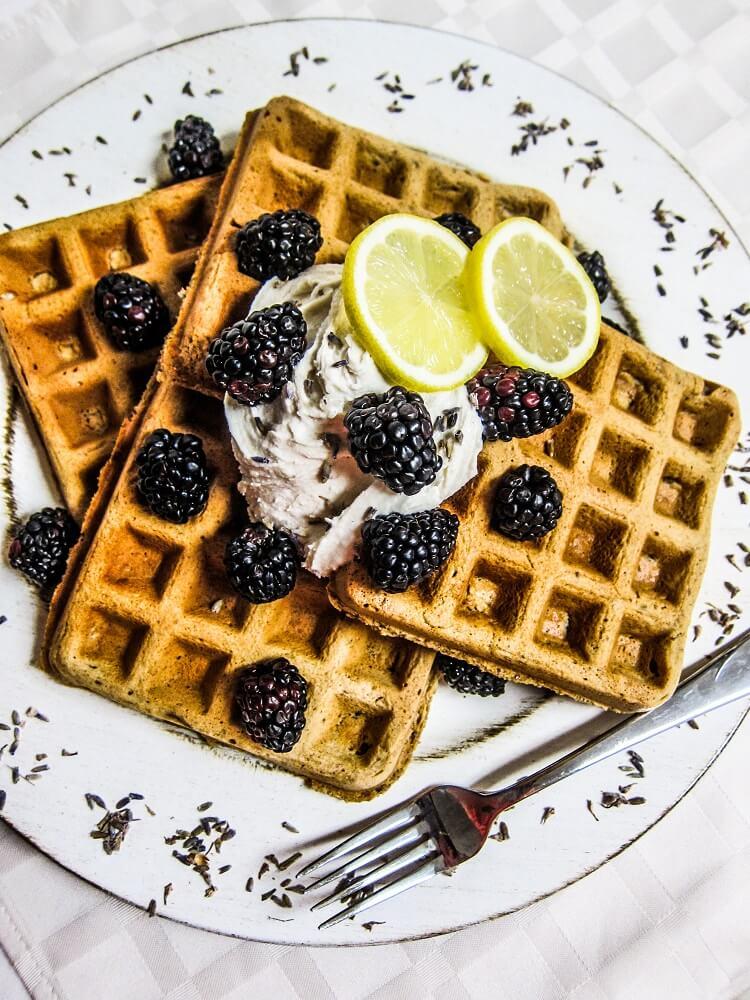 Vegan Lavender Lemon Waffles