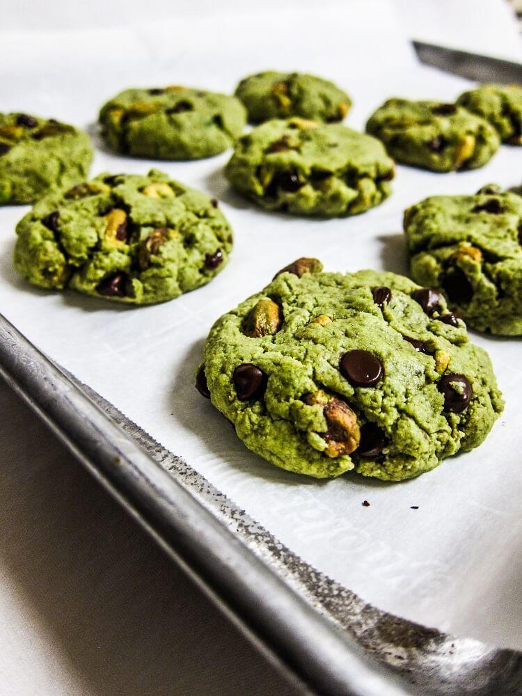 Vegan Matcha Pistachio Chocolate Chip Cookies