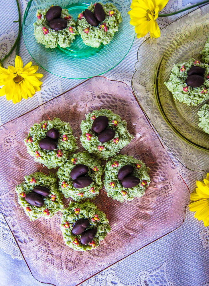 Matcha Coconut Easter Nests