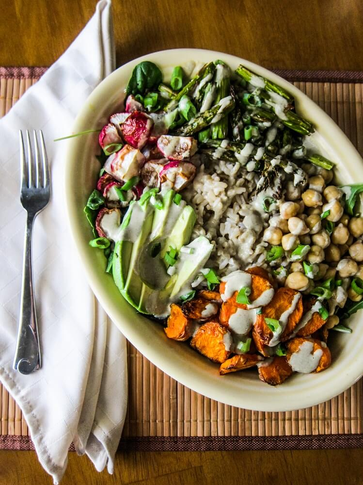 Roasted Spring Vegetable Buddha Bowl