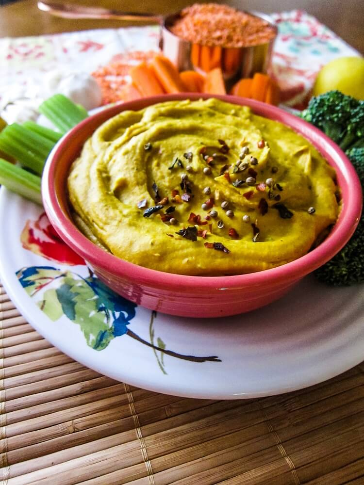Roasted Sweet Potato Red Lentil Hummus