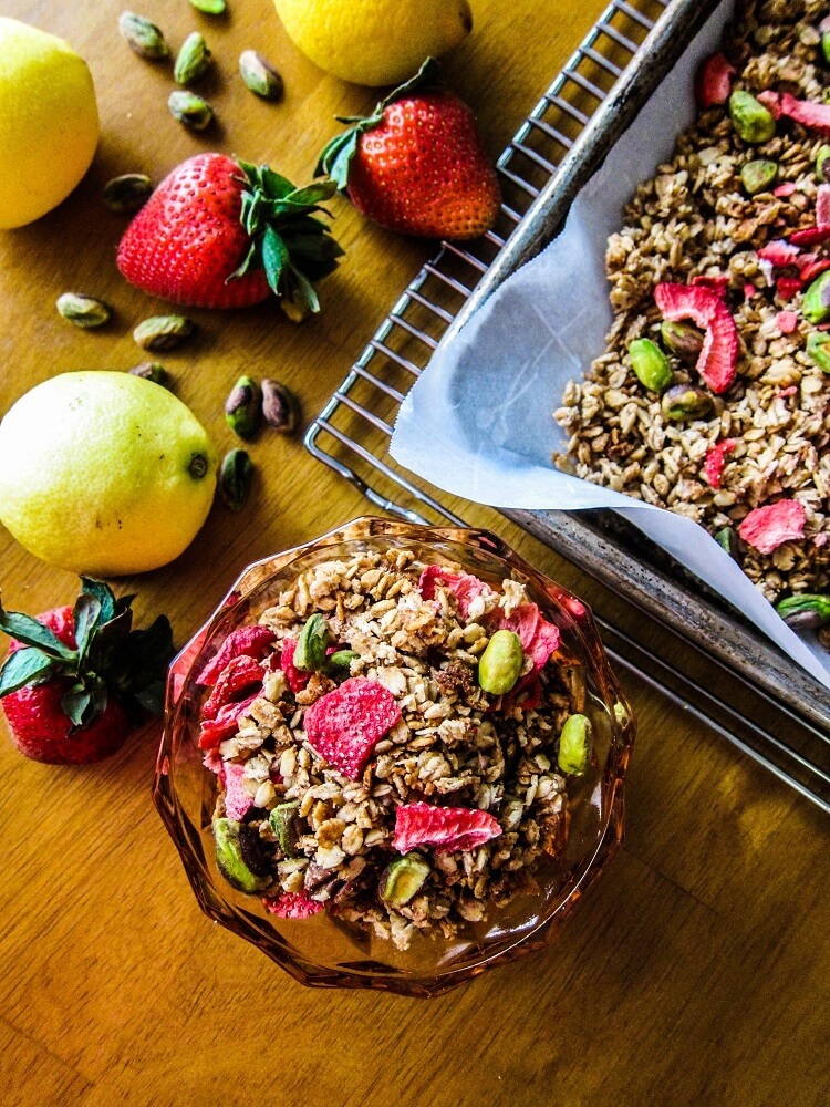 Strawberry Pistachio Lemon Granola