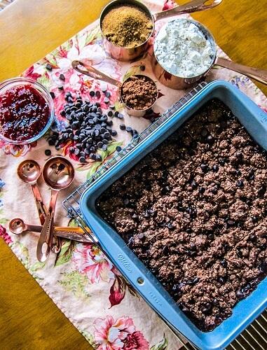 Vegan Chocolate Raspberry Jam Bars