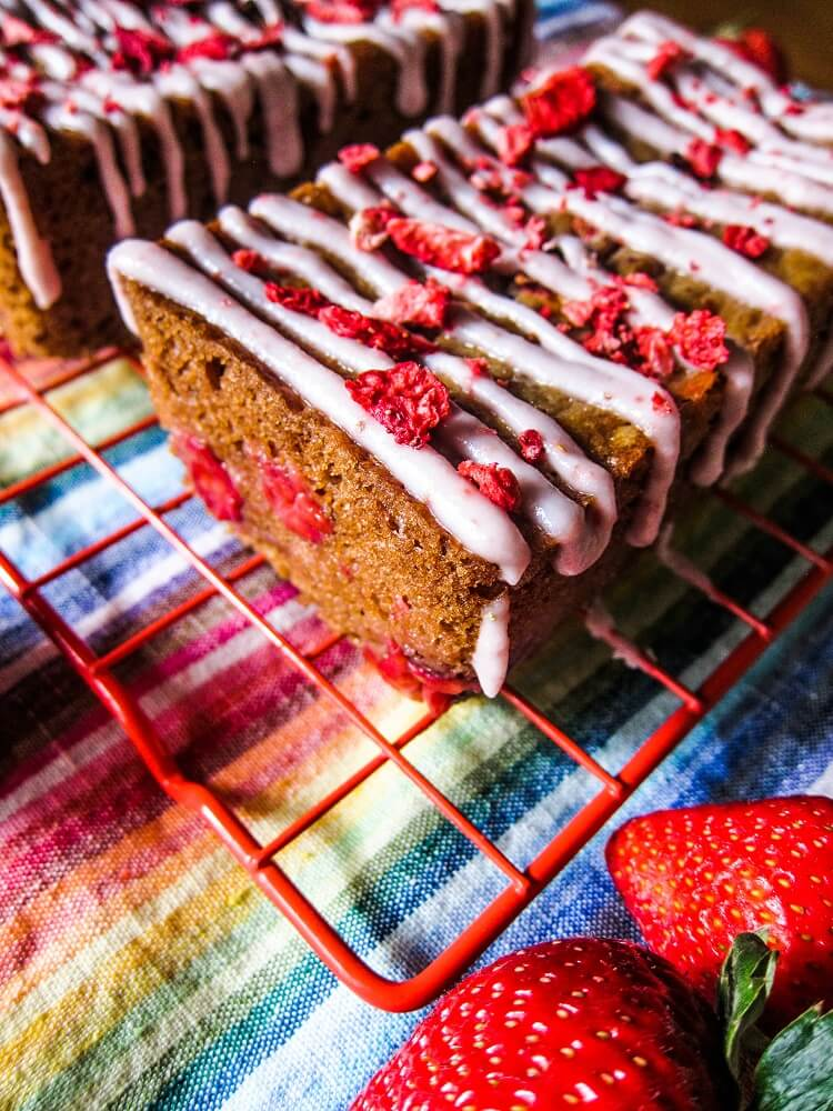 Vegan Strawberries and Cream Mini Loaf Cakes