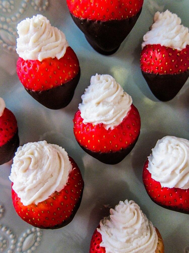 Vegan Cheesecake Stuffed Chocolate Dipped Strawberries
