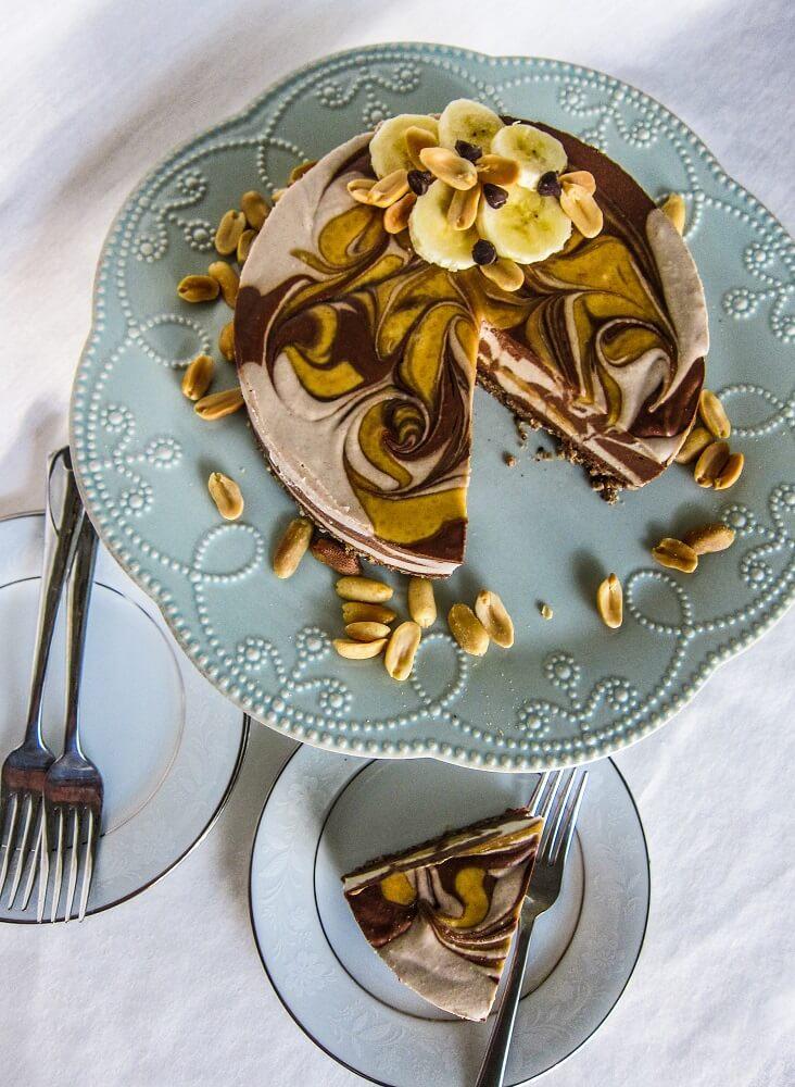 Vegan Peanut Butter Banana Chocolate Swirled Cheesecake