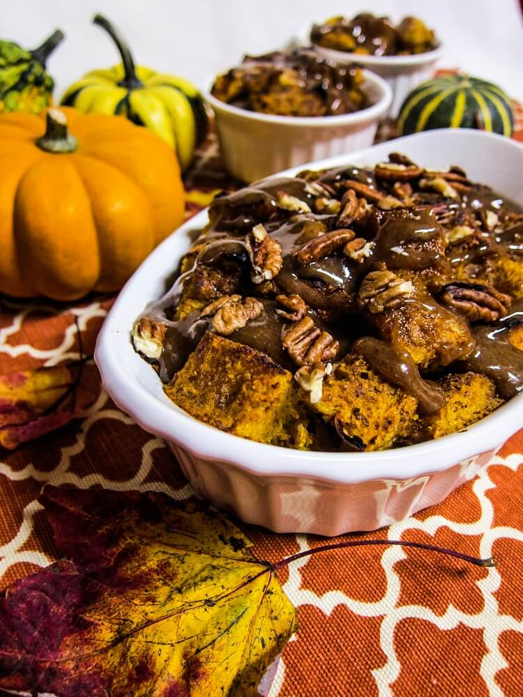 Vegan Pumpkin Bread Pudding with Caramel