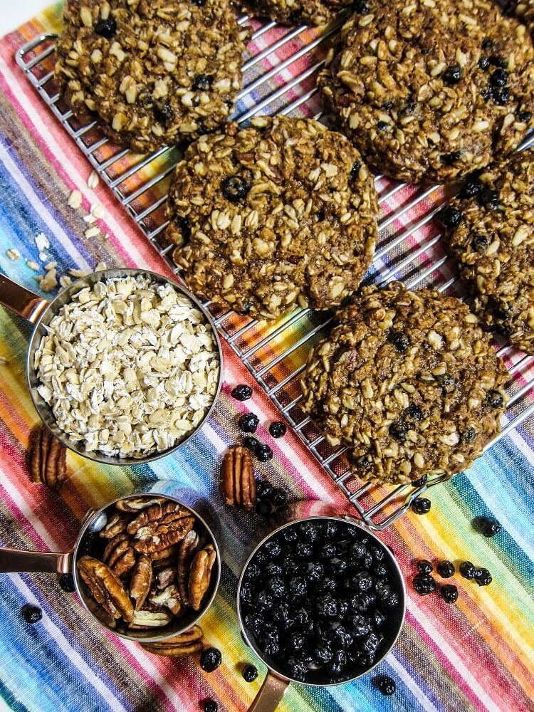 Blueberry Pecan Cinnamon Oatmeal Cookies