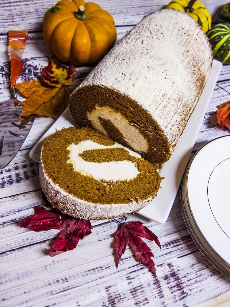 Vegan Pumpkin Cake Roll with Cream Cheese Filling