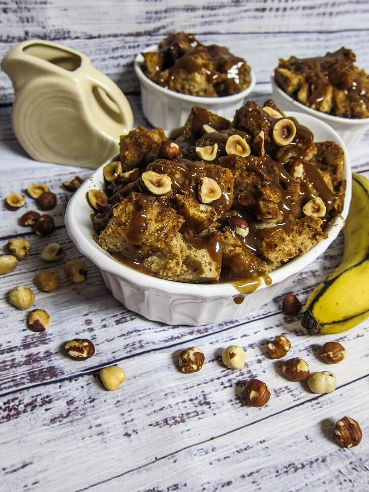 Vegan Banana Bread Pudding with Caramel