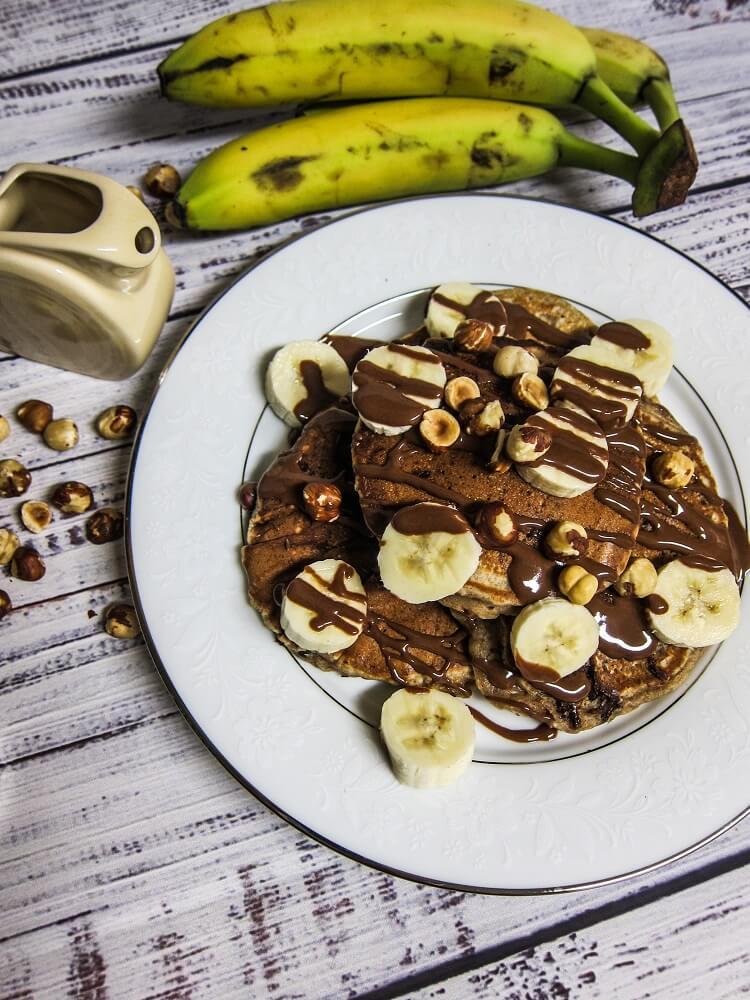 Vegan Banana Hazelnut Chocolate Pancakes