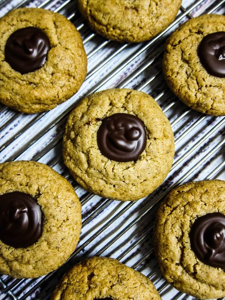 Vegan Peanut Butter Truffle Blossom Cookies