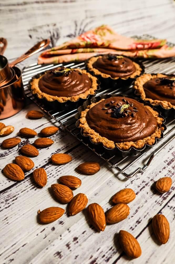 Vegan Chocolate Almond Mousse Tarts